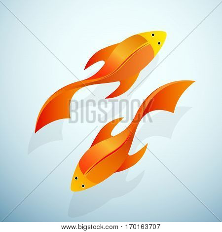 Vector sign goldfish in aquarium isolated on white