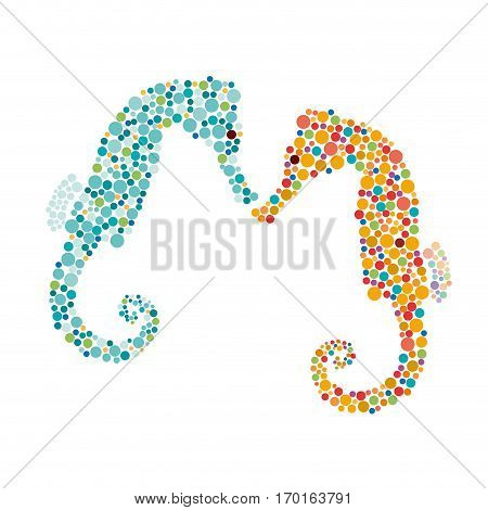 Vector sign seahorse isolated on white background