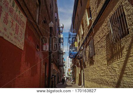 SAN FRANCISCO, Ca, OCTOBER, 08, 2015: the narrow street in Chinatown, San Francisco, USA.