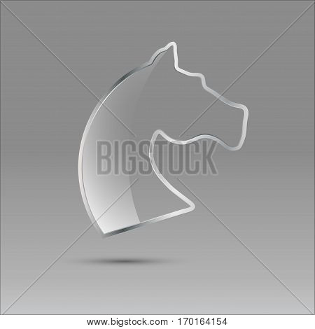 Vector sign glass and metal horse isolated on gray