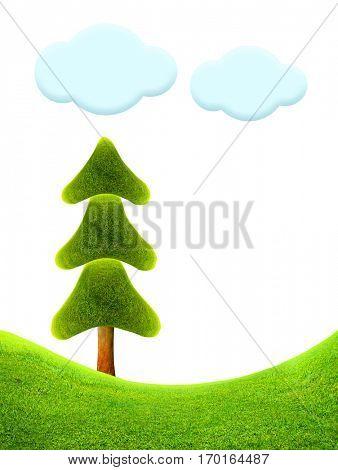 Christmas tree. Fantastic landscape. 3D illustration