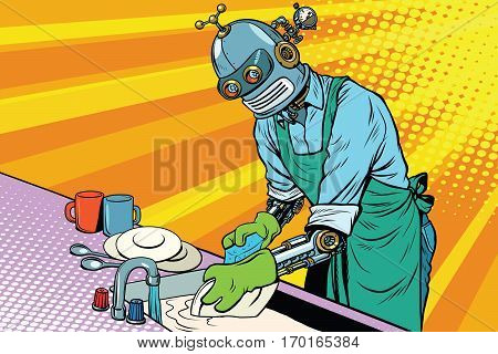 Vintage worker robot washes dishes. pop art retro vector illustration. Homework and cleaning service