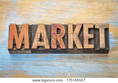 market - word abstract in vintage letterpress wood type printing blocks
