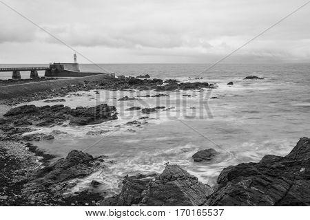 Black and white seaside landscape in the winter Les Sables D'olonne Vendée France