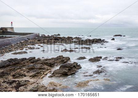 Seaside landscape in the winter Les Sables D'olonne Vendée France