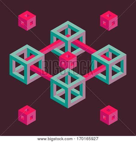 Isometric geometric shape pink and turquoise retro illustration.