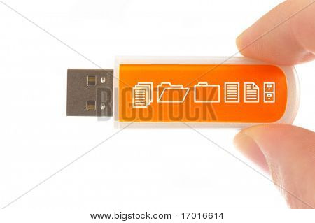 USB computer memory stick on a white background