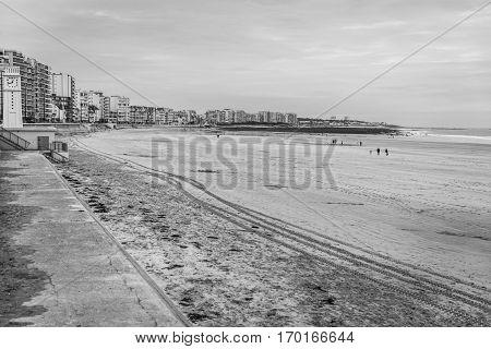 Black and white view of seaside landscape in the winter Les Sables D'olonne Vendée France