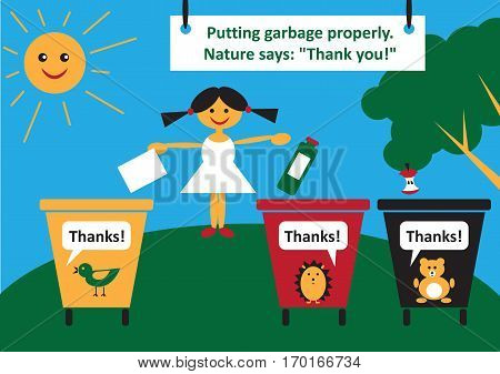 color poster. A girl throws out garbage in the garbage cans in different colors.
