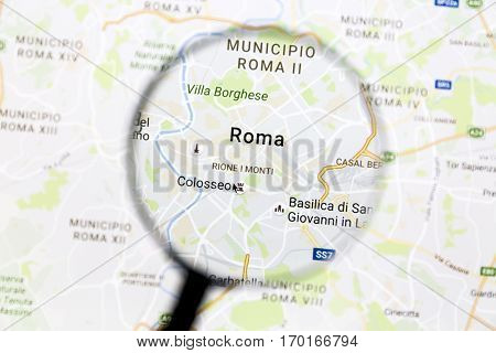 Ostersund, Sweden - Dec 3, 2016: Rome on Google Maps under a magnifying glass. Rome is the capital city of Italy
