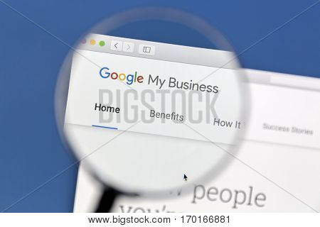 Ostersund Sweden - December 3, 2016 Closeup of Google My Business website under a magnifying glass. Google My Business is a free and easy-to-use tool for businesses, brands, artists, and organizations
