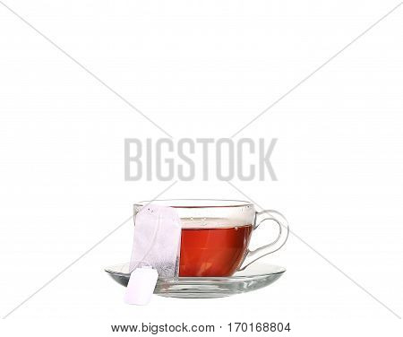 Cup Of Tea With Teabag On White Background
