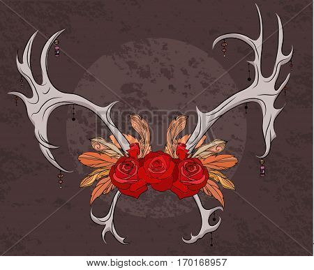 Color illustration deer antlers with roses and feathers. Boho. Vector element for your creativity