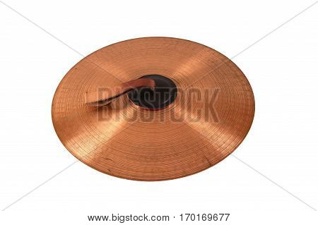 Close up of an prcussion cymbals with leather handle  isolated on background.