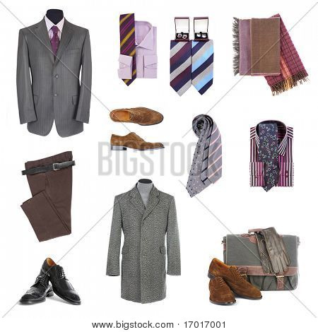 Men's clothes  and accessories on a white background