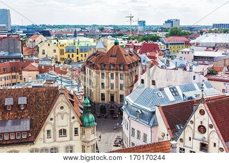 TALLINN ESTONIA - JULE 29 2013: View of Old city's roofs. Tallinn Estonia