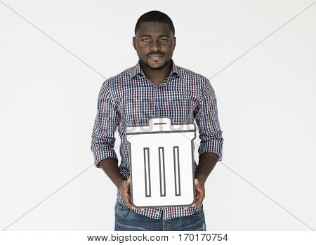 Man Hold Trash Can Delete