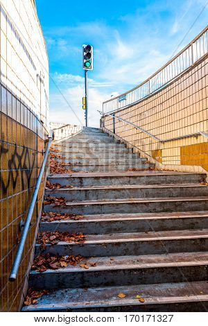 Authentic Urban Staircase In Underground Passage With Exit To Traffic Lights In England