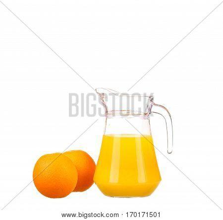 Orange Juice And Slices Of Orange Isolated On White