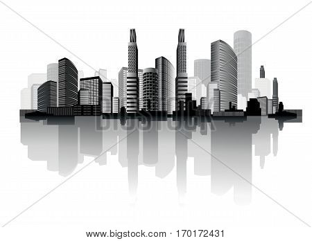 Vector illustration of an abstract city on the white background