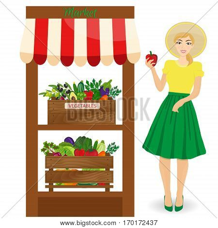 Local vegetable stall. Farmer woman produce shopkeeper.Fresh organic food products shop on shelves. Local market farmer selling vegetables produce on his stall with awning. promote healthy eating concept. Food market.
