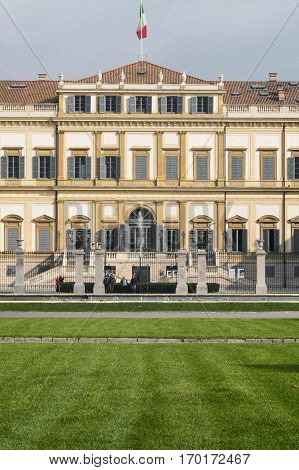 MONZA, ITALY - OCTOBER 22, 2016: Monza (Brianza Lombardy Italy): exterior of the historic Royal Palace with tourists