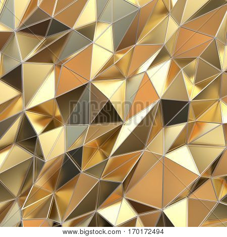 Abstract golden background polygon. 3d render illustration.