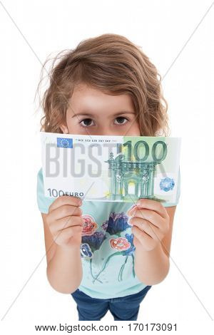 Young girl holding hundred euro note