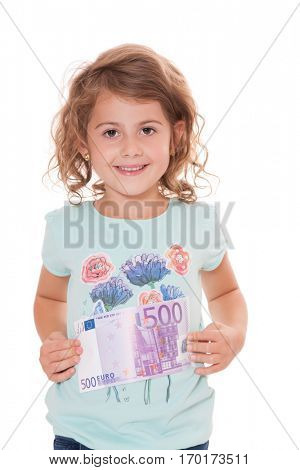 Young girl holding five hundred euro note