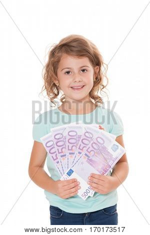 Young girl holding lots of euro notes