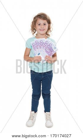 Young girl holding various euro notes.
