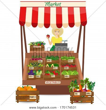 Female worker of grocery store holding a pepper. Local market farmer selling vegetables produce on his stall with awning. promote healthy eating concept. Food market.