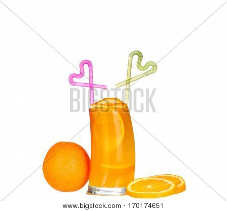 Pouring Orange Juice And Slices Of Orange Isolated On White