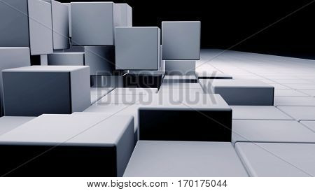 White realistic plastic cubes in 3d space. 3D rendering.