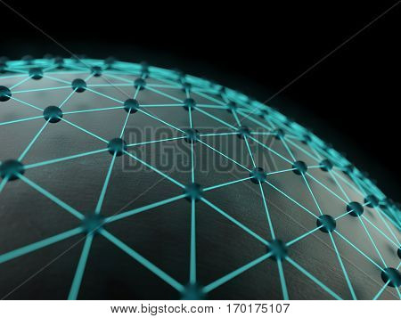 Technological abstract illumination net background. 3d rendering