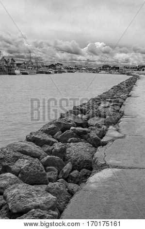 Jetty and seaside Gujan Mestras Bassin d'Arcachon Gironde France