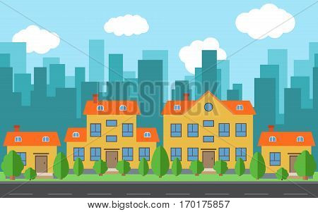 Vector city with cartoon houses and buildings with green trees and shrubs. City space with road on flat style background concept. Summer urban landscape. Street view with cityscape on a background