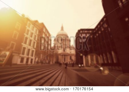 Defocused background of people at St. Paul Cathedral in London