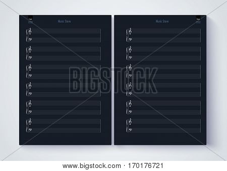 Music Stave Template, Blank Stave Note Paper. Blank Music Note Page. Vector Eps10.
