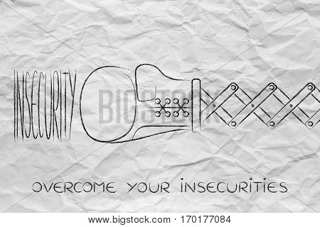 Boxing Glove Hitting The Word Insecurity