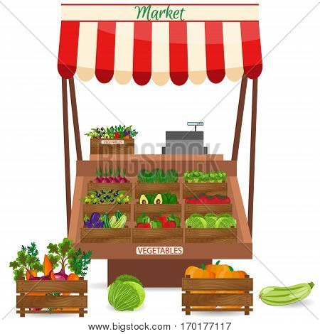Local vegetable stall. Fresh organic food products shop on shelves. Local market farmer selling vegetables produce on his stall with awning. promote healthy eating concept. Food market.