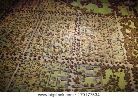 SEOUL - NOV 4, 2015: Miniature map of ancient district of Seoul in national Folk Museum of Korea. In Seoul began working national museum of modern art, which has become second largest in capital