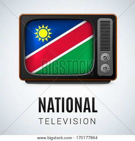 Vintage TV and Flag of Namibia as Symbol National Television. Tele Receiver with Namibian flag