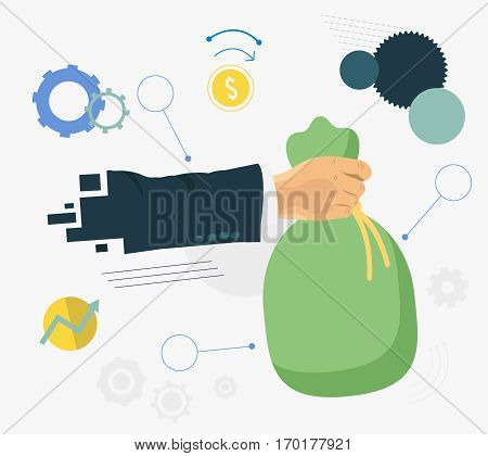 Hands holding money bag. Money making. Bank deposit and business items flat illustration.