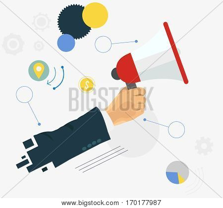 Hand holding a megaphone or speaker. Man holding megaphone and business items flat illustration