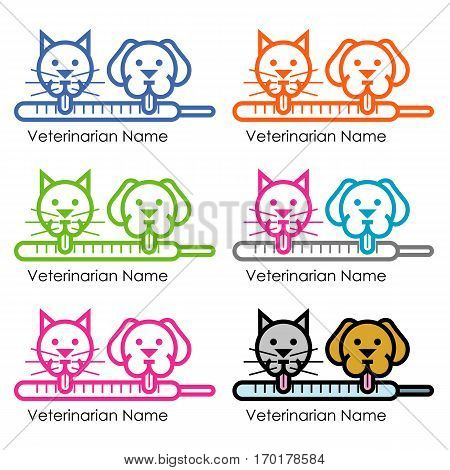 proposal for a logo for a veterinarian in various colors