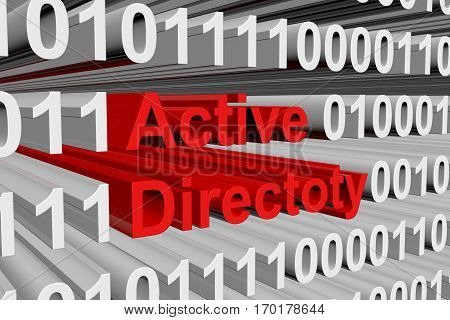 active directory in the form of binary code, 3D illustration