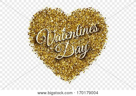 Valentine's Day Illustration. Golden Shiny Tinsel Square Particles Abstract Vector Heart with 3d Text on Transparent Background. Celebration, holidays and party design element