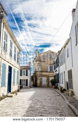 Little street of village of Ars en Re Ile de Re France