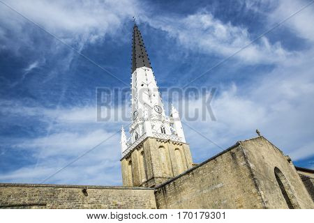 Village of Ars en Re with Saint-Etienne church spire Ile de Re France